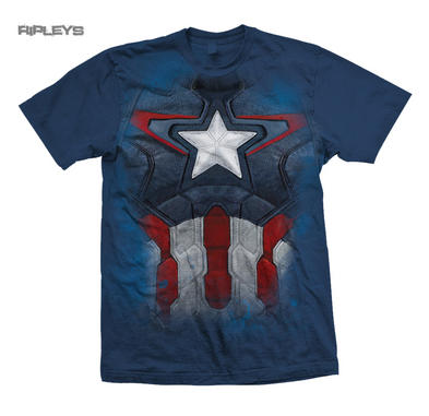 Official T Shirt THE AVENGERS Captain America Chest Print Marvel Costume
