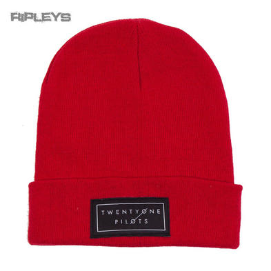 Official TWENTY ONE PILOTS Red Beanie Hat Text Logo Gift