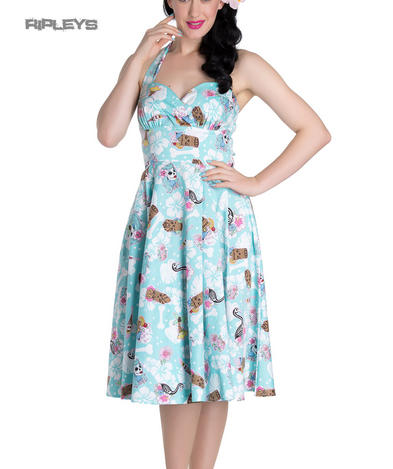 Hell Bunny   Summer SUKI 50s Dress Blue Flowers Skulls Tikis All Sizes Preview