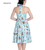 Hell Bunny   Summer SUKI 50s Dress Blue Flowers Skulls Tikis All Sizes Thumbnail 3