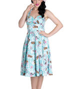 Hell Bunny   Summer SUKI 50s Dress Blue Flowers Skulls Tikis All Sizes Thumbnail 2