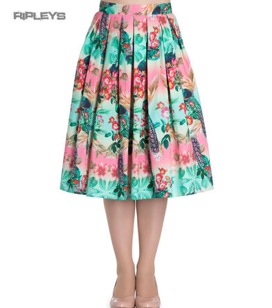 Hell Bunny 50s Floral Summer PEACOCK Pleated Skirt Blue All Sizes
