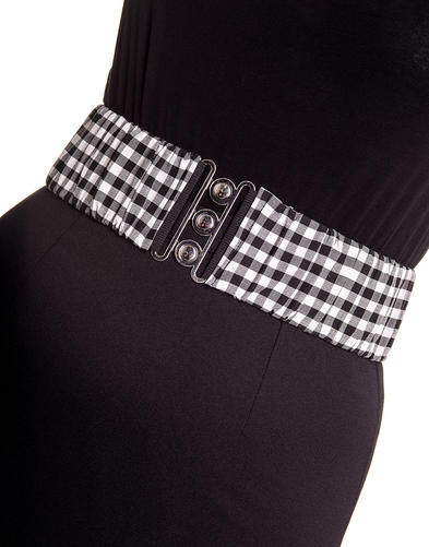 HELL BUNNY Black 50s Waist BELT Rockabilly Elasticated GINGHAM All Sizes