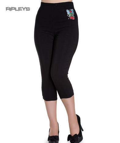 Hell Bunny 50s Black Pedal Pushers ANNA Capris Capri Trousers Cherry All Sizes