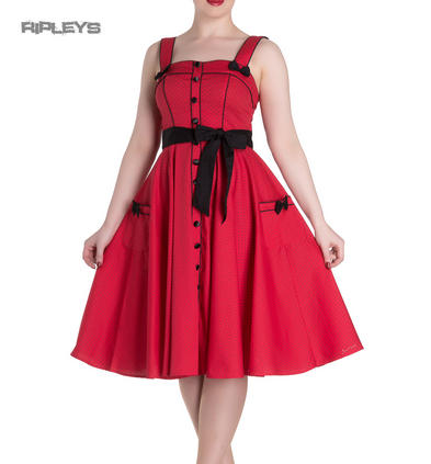 Hell Bunny Rockabilly Pinup MARTIE 50s Dress Polka Dot   Red All Sizes