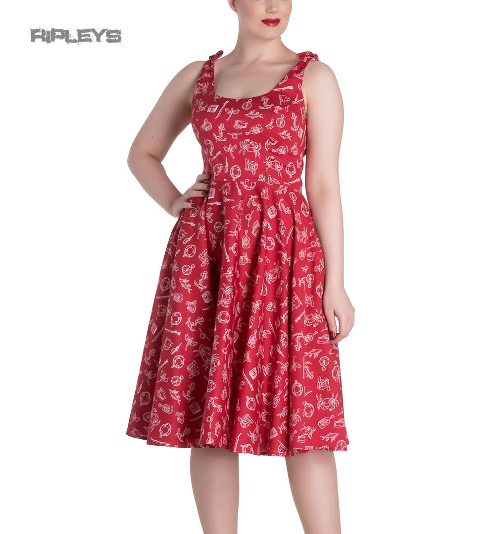 a30d0f6a2c49e Hell Bunny Rockabilly MARIN 50s Dress Nautical Sailor Red All Sizes