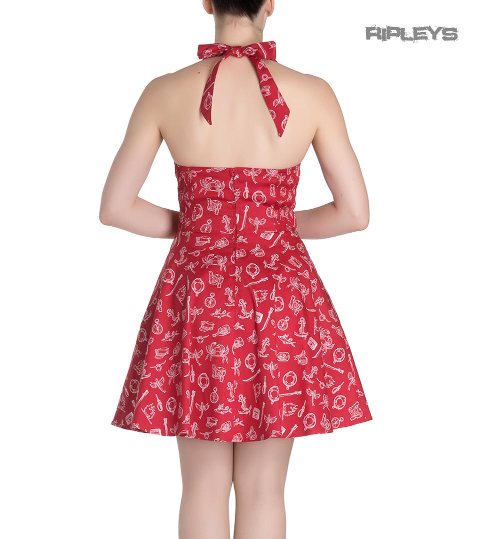 a43a5703f3b Hell Bunny Rockabilly Mini Dress MARIN Nautical Sailor Red All Sizes