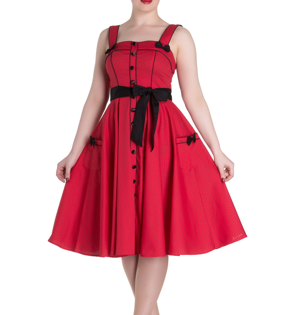 Hell-Bunny-Rockabilly-Pinup-MARTIE-50s-Dress-Polka-Dot-Red-All-Sizes thumbnail 3