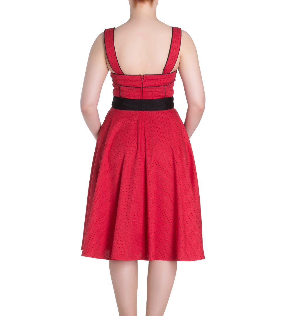 Hell-Bunny-Rockabilly-Pinup-MARTIE-50s-Dress-Polka-Dot-Red-All-Sizes thumbnail 9