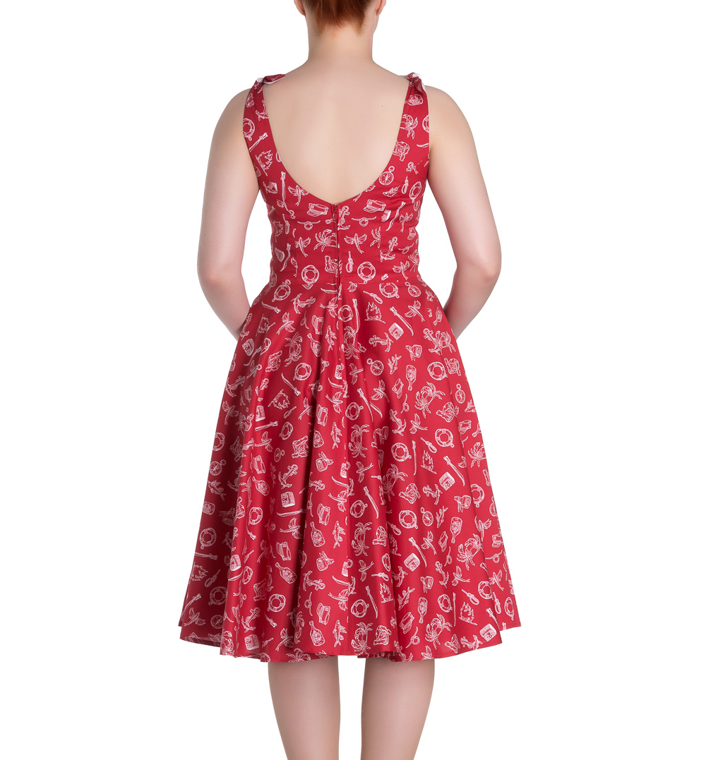 Hell-Bunny-Rockabilly-MARIN-50s-Dress-Nautical-Sailor-Red-All-Sizes thumbnail 5