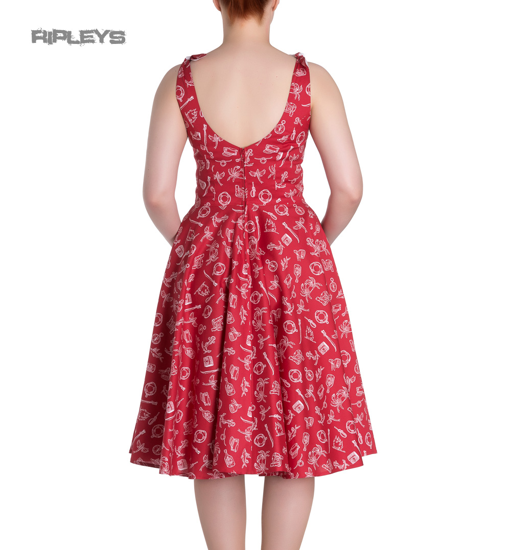 Hell-Bunny-Rockabilly-MARIN-50s-Dress-Nautical-Sailor-Red-All-Sizes thumbnail 4