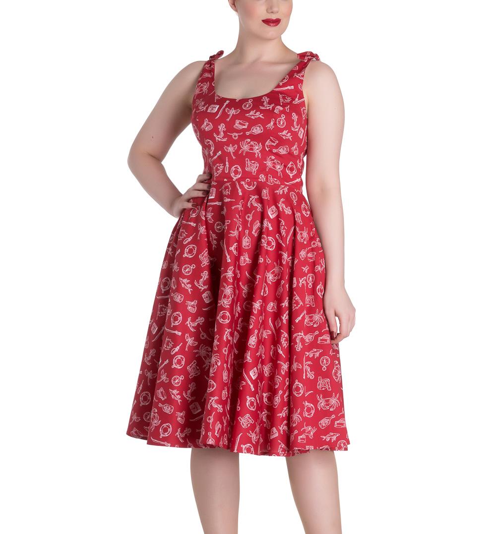 Hell-Bunny-Rockabilly-MARIN-50s-Dress-Nautical-Sailor-Red-All-Sizes thumbnail 3