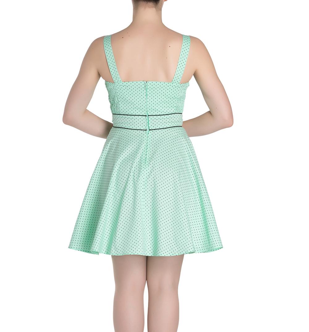 HELL-BUNNY-Mini-Dress-Pin-Up-VANITY-Polka-Dot-Mint-Green-All-Sizes thumbnail 5