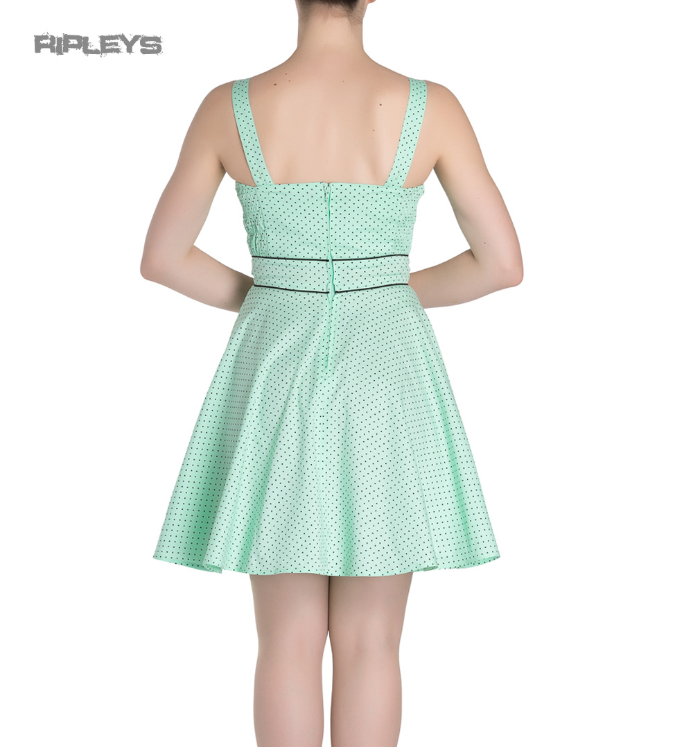 HELL-BUNNY-Mini-Dress-Pin-Up-VANITY-Polka-Dot-Mint-Green-All-Sizes thumbnail 4