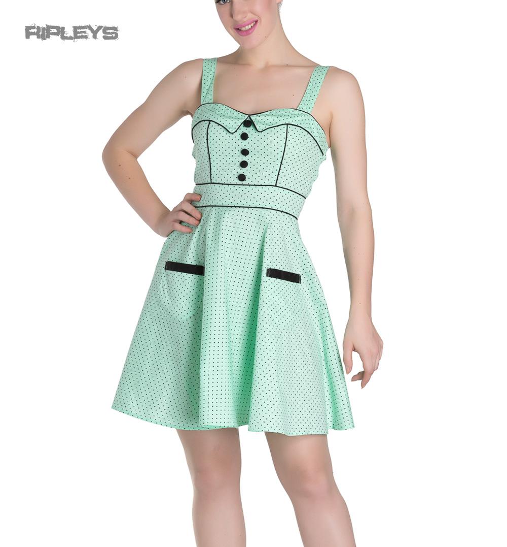 HELL-BUNNY-Mini-Dress-Pin-Up-VANITY-Polka-Dot-Mint-Green-All-Sizes thumbnail 6