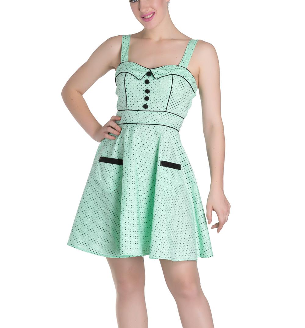HELL-BUNNY-Mini-Dress-Pin-Up-VANITY-Polka-Dot-Mint-Green-All-Sizes thumbnail 11
