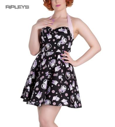 Hell Bunny Party Mini Dress AMELIA Pink Kittens Hearts   Black All Sizes