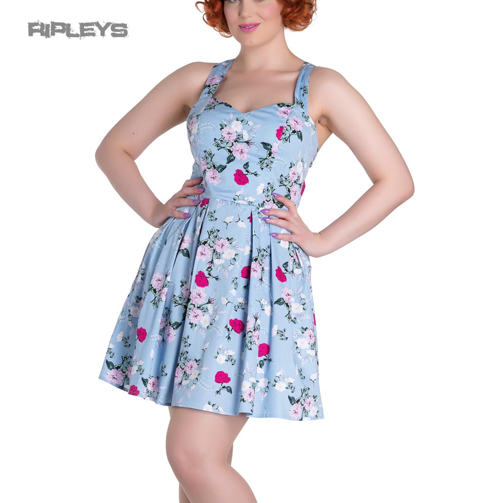 5c5c6f839f83 Sentinel Hell Bunny Summer Mini Dress BELINDA Rose Floral Flowers Blue All  Sizes