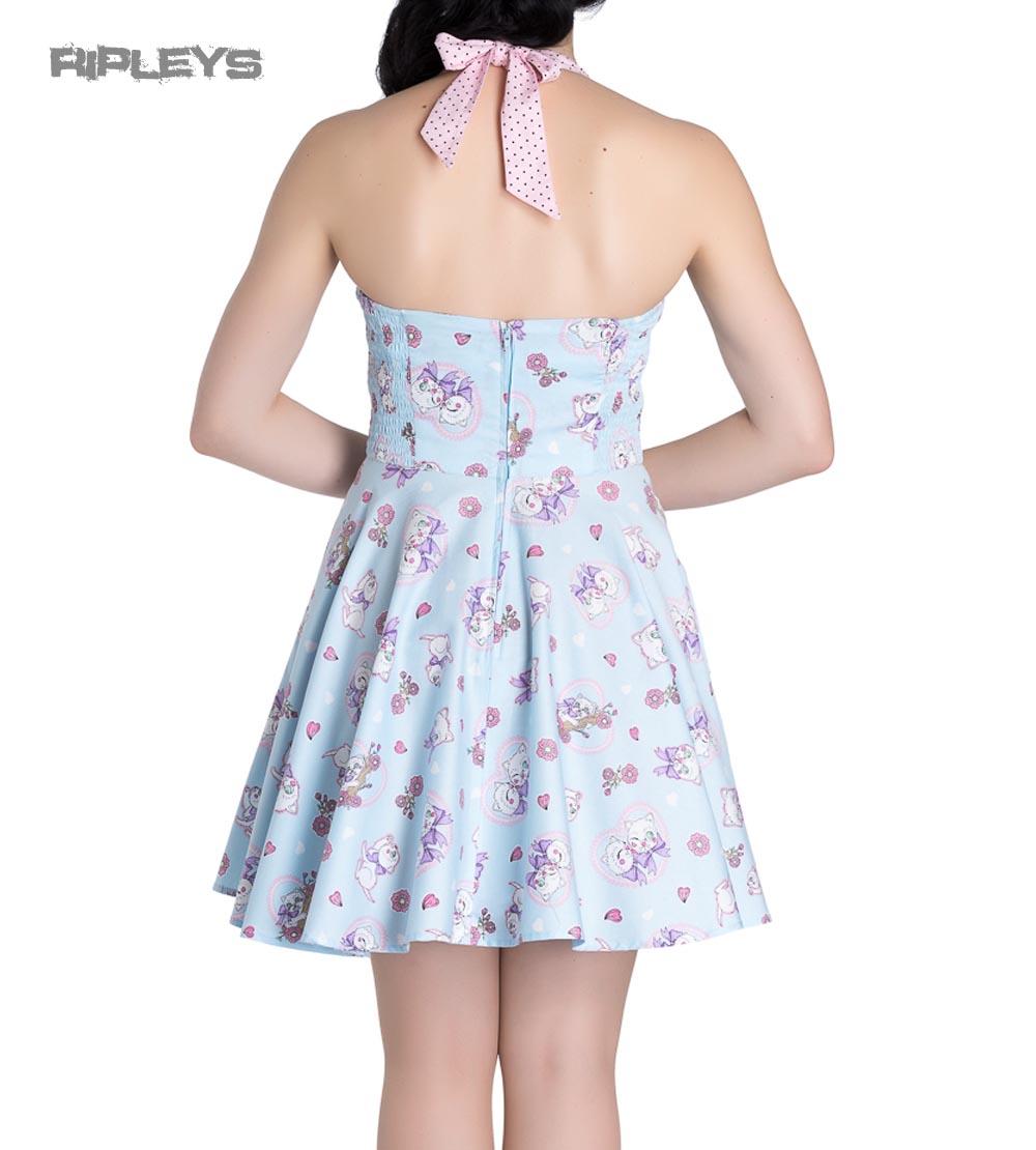 Hell-Bunny-Party-Mini-Dress-AMELIA-Pink-Kittens-Hearts-Blue-All-Sizes thumbnail 16