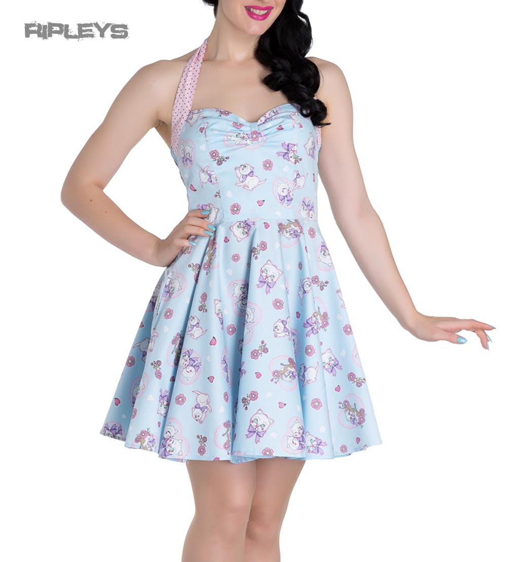 Hell-Bunny-Party-Mini-Dress-AMELIA-Pink-Kittens-Hearts-Blue-All-Sizes thumbnail 10