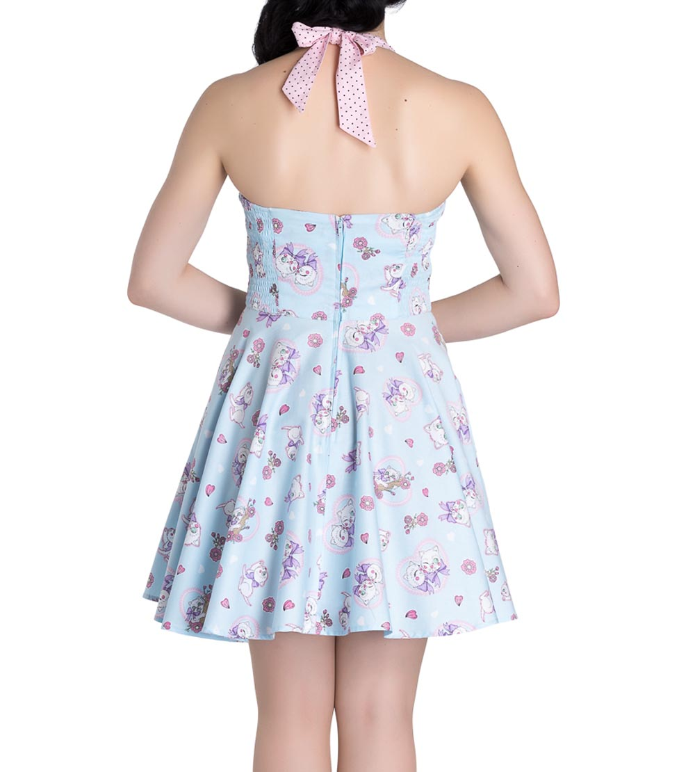 Hell-Bunny-Party-Mini-Dress-AMELIA-Pink-Kittens-Hearts-Blue-All-Sizes thumbnail 9