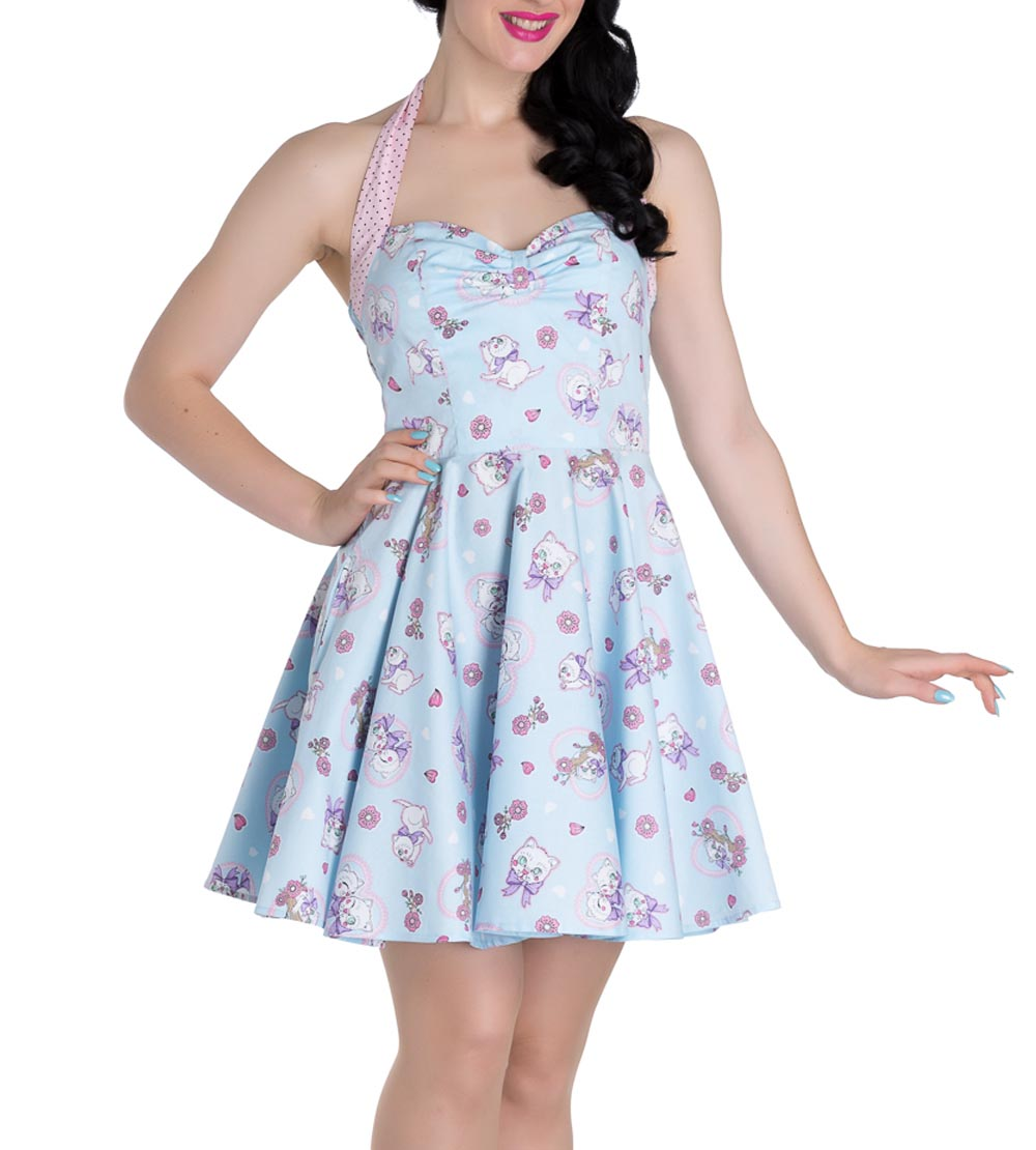 Hell-Bunny-Party-Mini-Dress-AMELIA-Pink-Kittens-Hearts-Blue-All-Sizes thumbnail 7