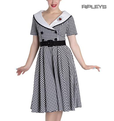 Hell Bunny 50s Dress Summer Black/White   LADYBIRD Gingham All Sizes