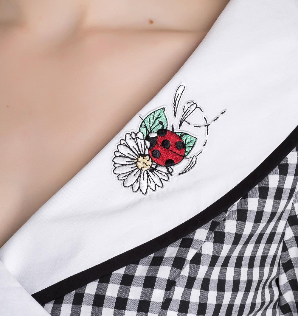 Hell-Bunny-50s-Dress-Summer-Black-White-LADYBIRD-Gingham-All-Sizes thumbnail 6