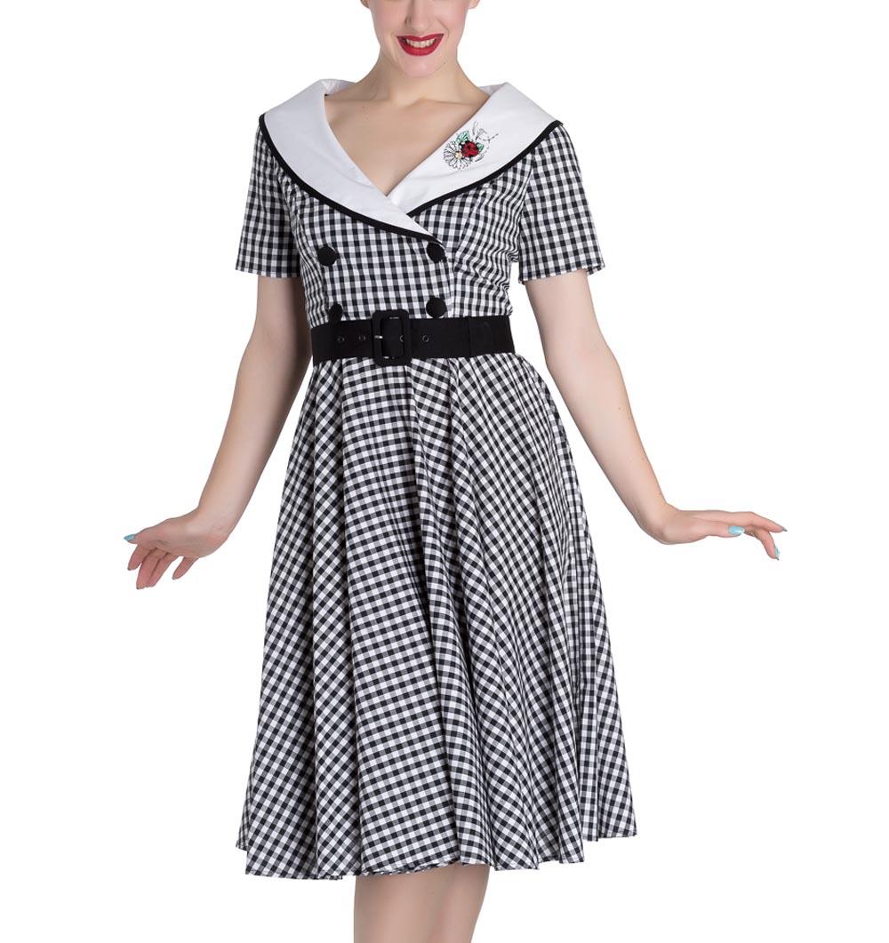 Hell-Bunny-50s-Dress-Summer-Black-White-LADYBIRD-Gingham-All-Sizes thumbnail 18
