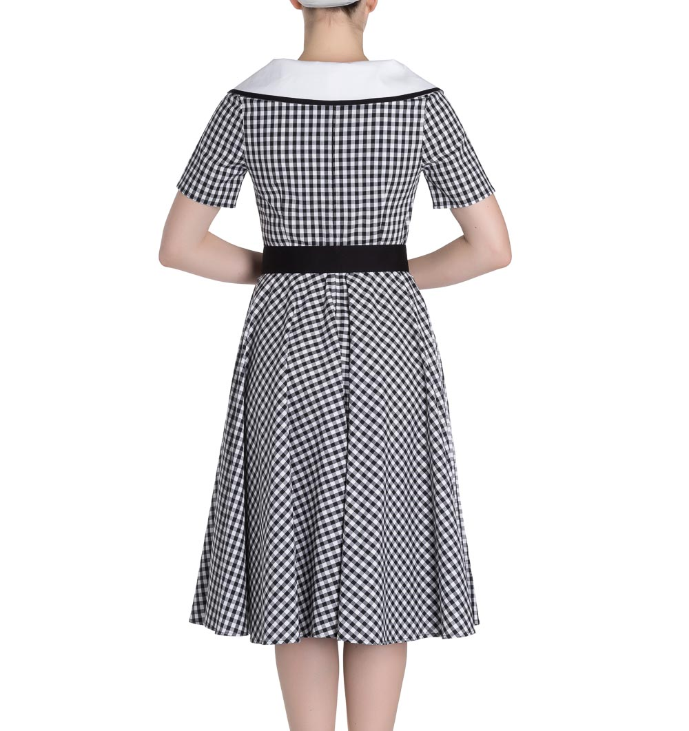 Hell-Bunny-50s-Dress-Summer-Black-White-LADYBIRD-Gingham-All-Sizes thumbnail 5