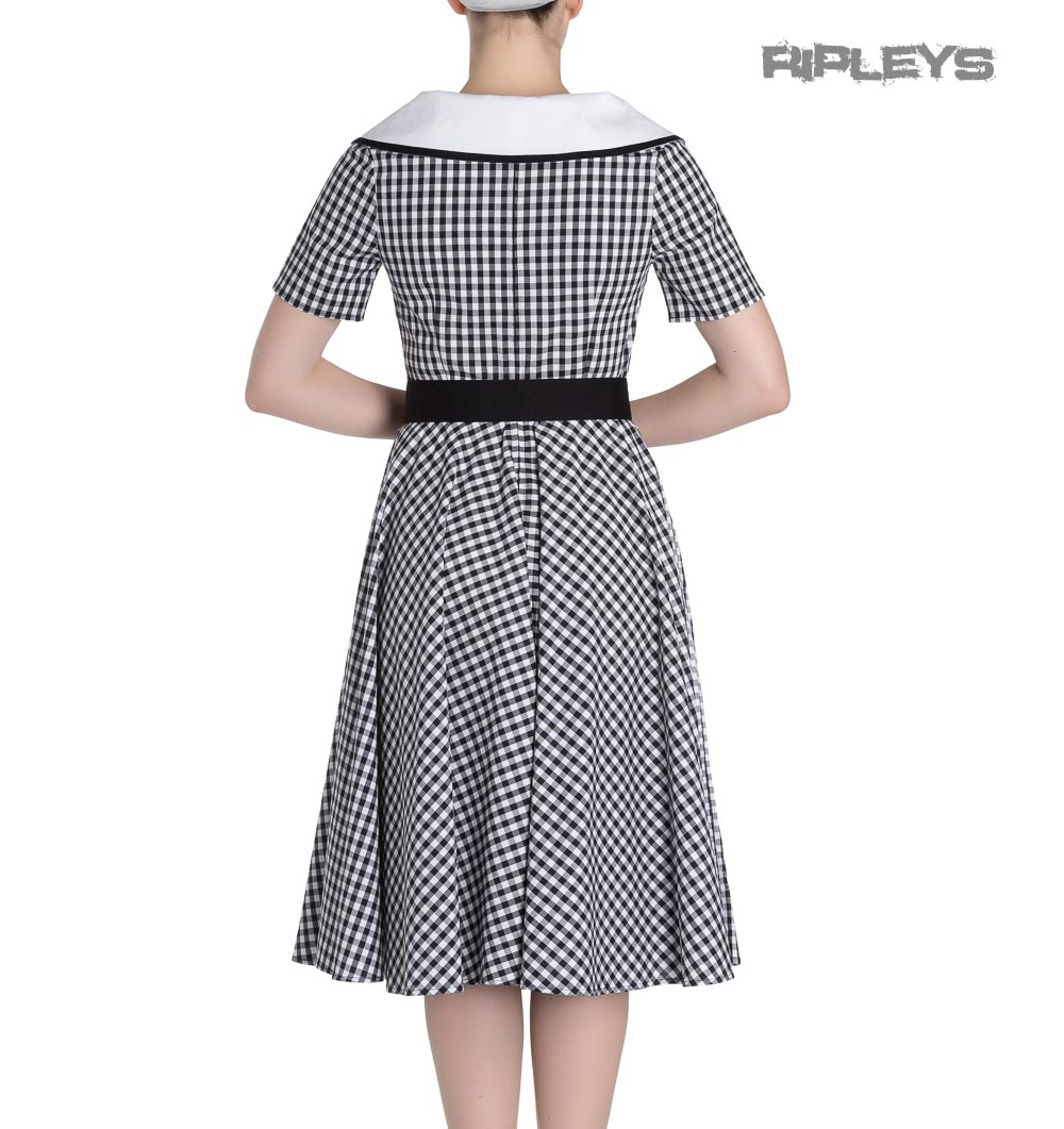 Hell-Bunny-50s-Dress-Summer-Black-White-LADYBIRD-Gingham-All-Sizes thumbnail 4