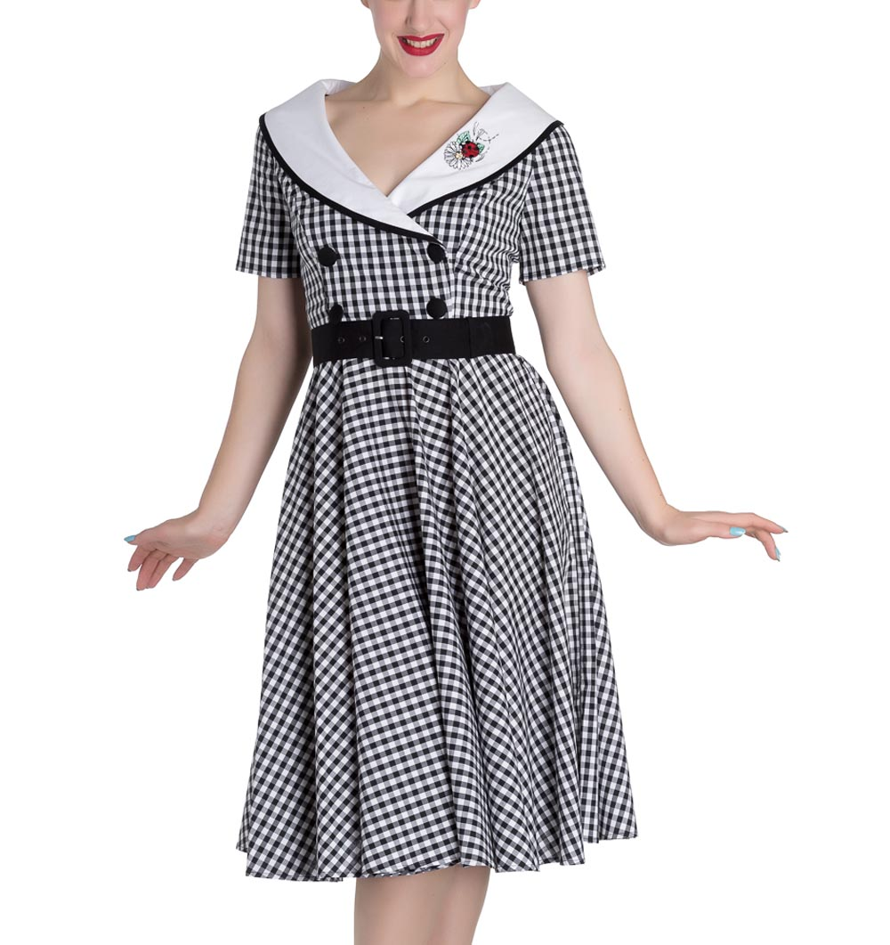 Hell-Bunny-50s-Dress-Summer-Black-White-LADYBIRD-Gingham-All-Sizes thumbnail 3