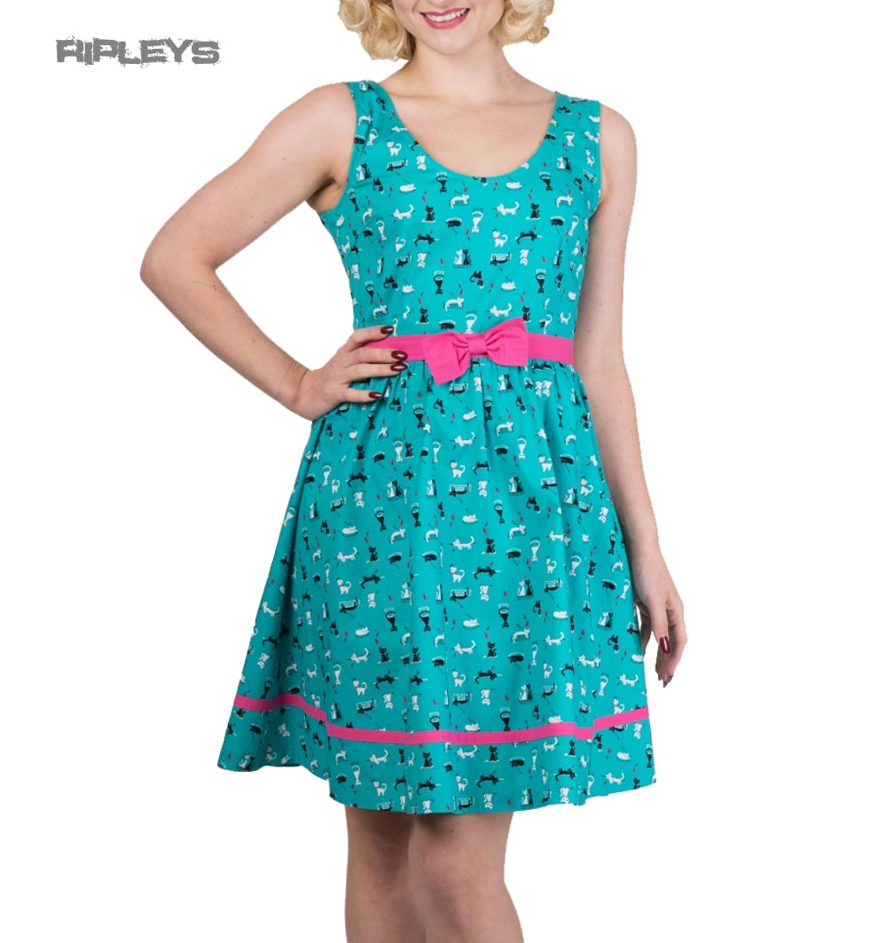 BANNED 50s Party Skater Dress Turquoise Blue Cats Bright Lights All ...