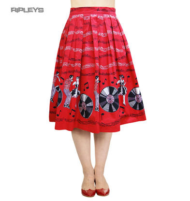 BANNED 50s Classic Retro Red Skirt   EMPOWER Jive Rockabilly All Sizes