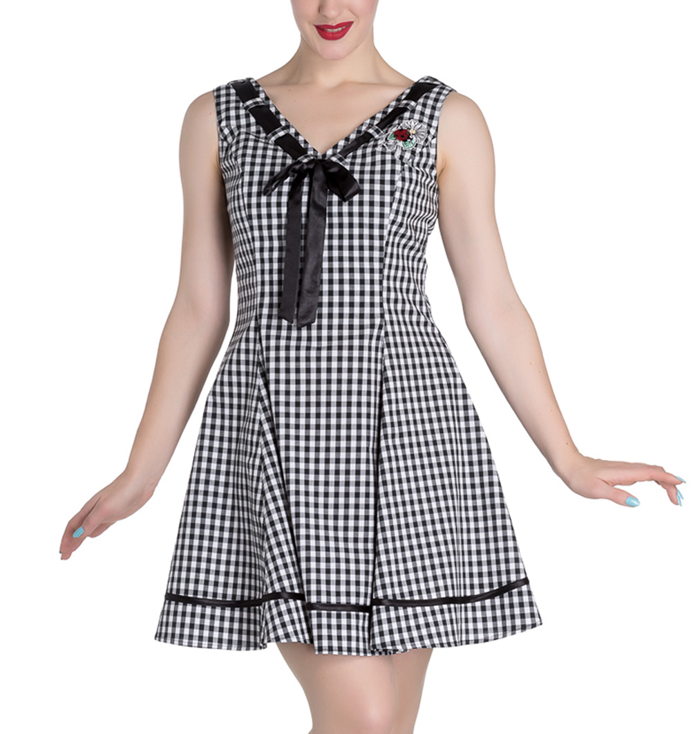 HELL-BUNNY-50s-Mini-Summer-Dress-LADYBIRD-Gingham-Vintage-All-Sizes thumbnail 33