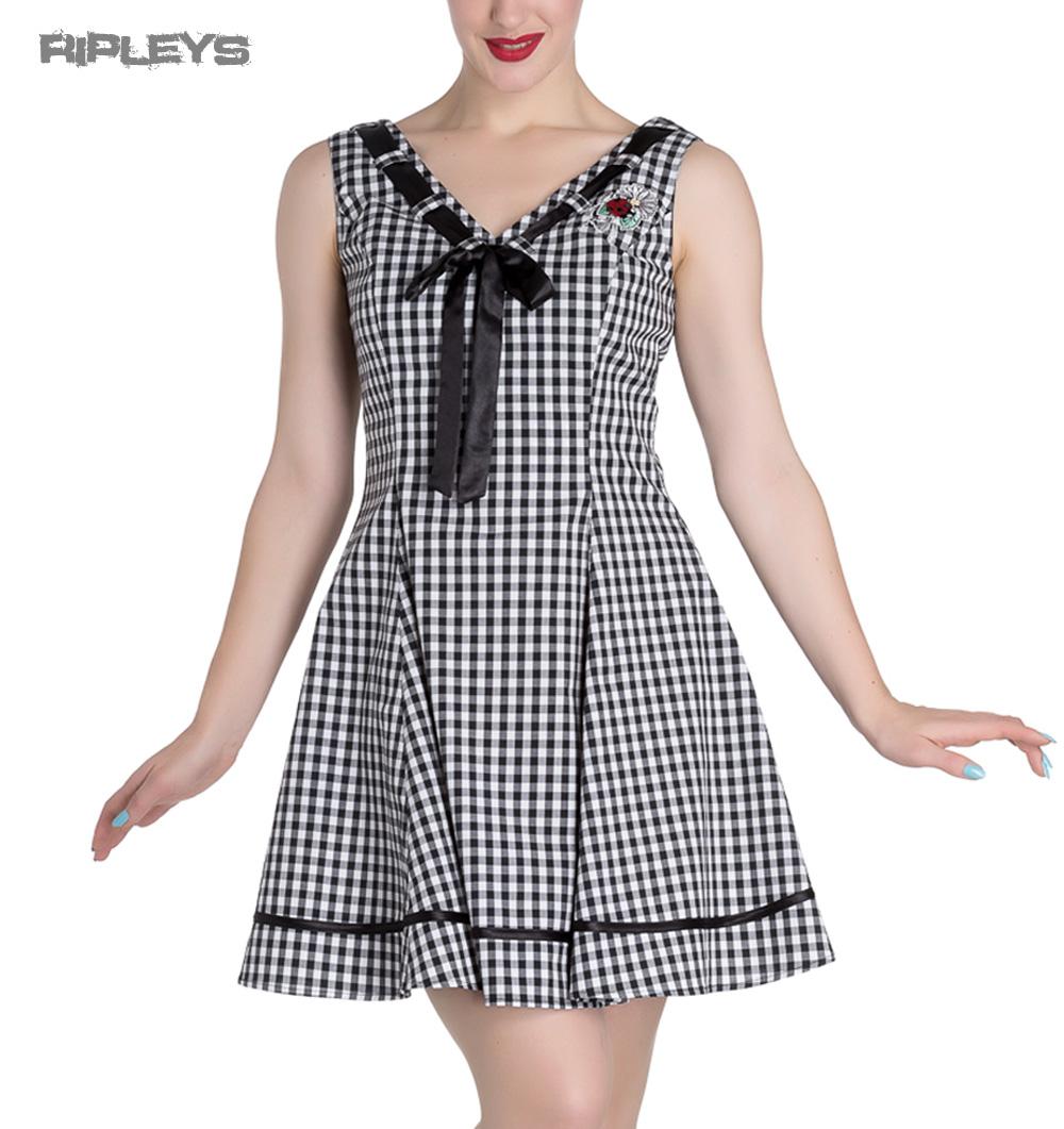 HELL-BUNNY-50s-Mini-Summer-Dress-LADYBIRD-Gingham-Vintage-All-Sizes thumbnail 37