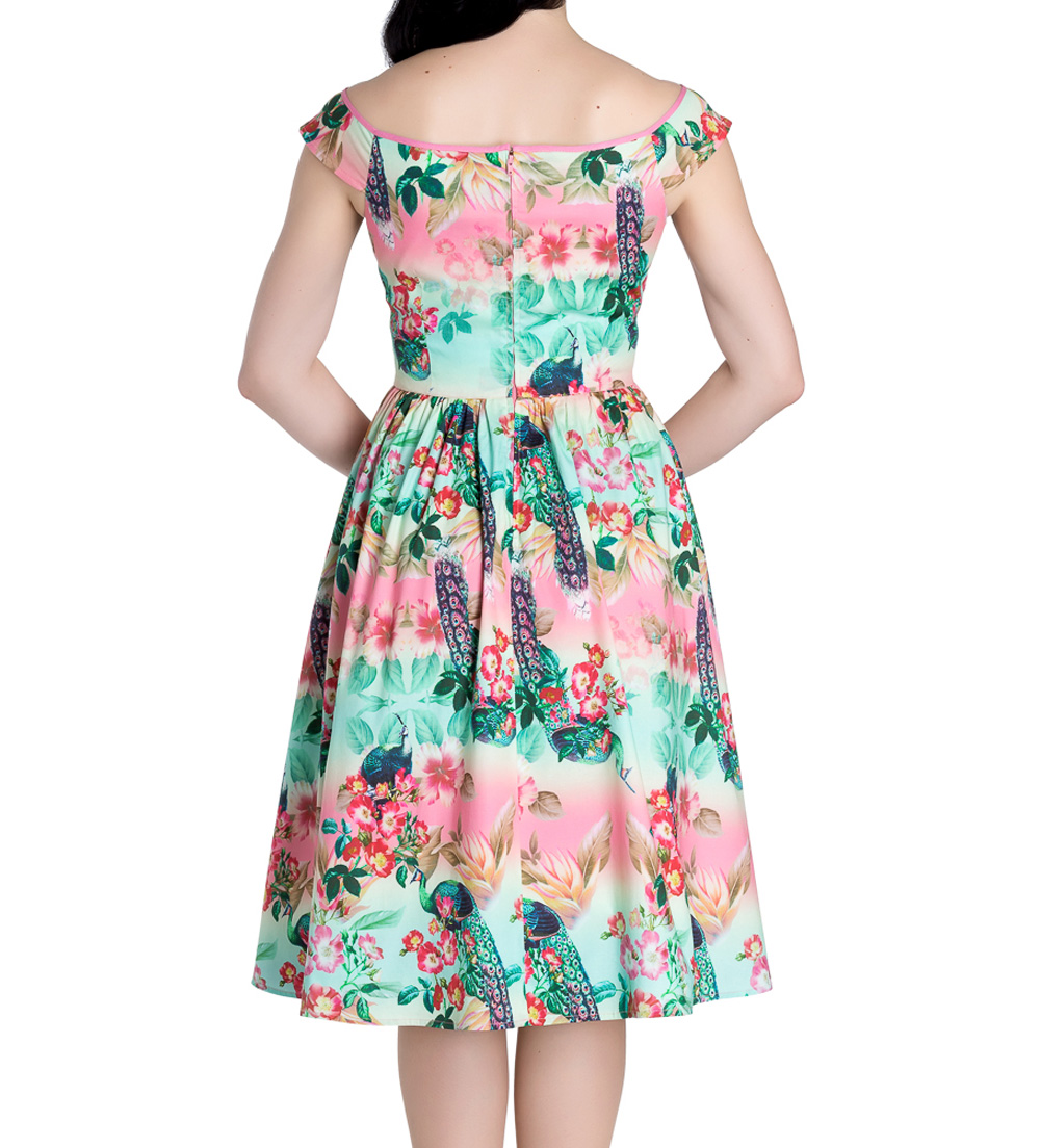 Hell-Bunny-Pinup-50s-Dress-PEACOCK-Flowers-Pink-Green-All-Sizes thumbnail 5