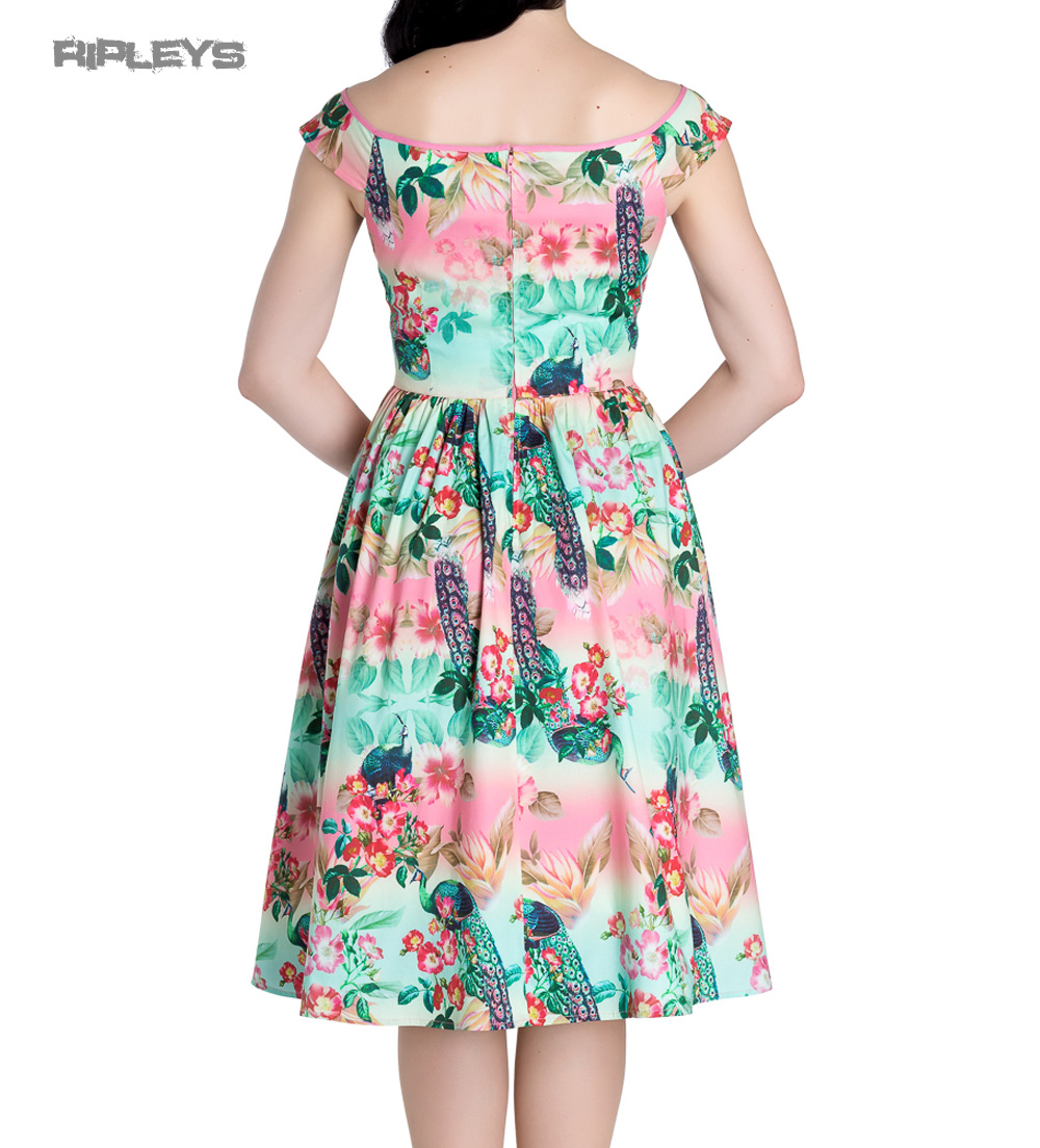 Hell-Bunny-Pinup-50s-Dress-PEACOCK-Flowers-Pink-Green-All-Sizes thumbnail 4