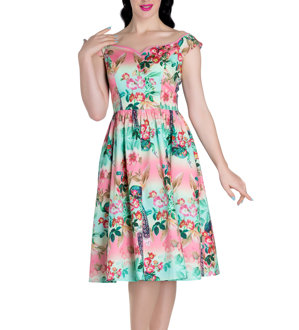Hell-Bunny-Pinup-50s-Dress-PEACOCK-Flowers-Pink-Green-All-Sizes thumbnail 3