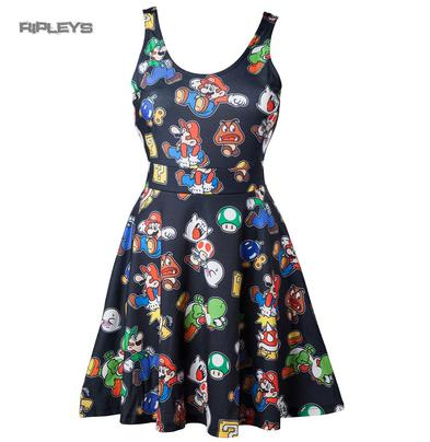 Official Ladies Skater Dress MARIO Game ICONS Nintendo 64 All Sizes
