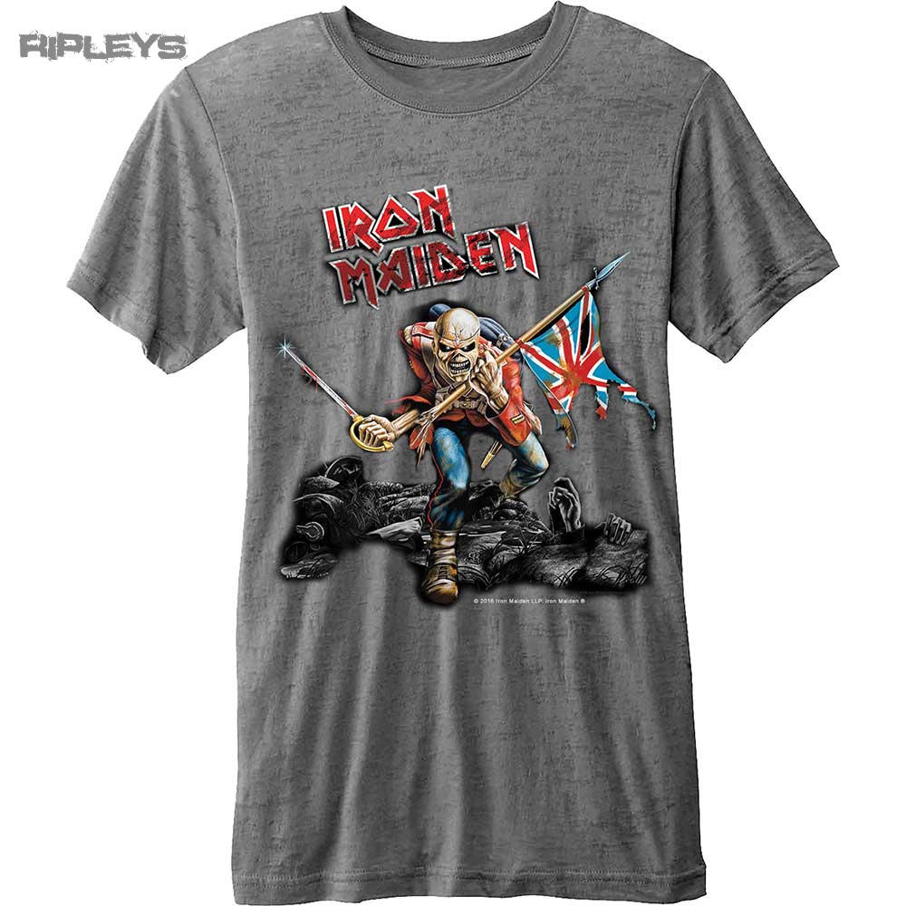 1427827b Official T Shirt IRON MAIDEN Vintage Logo Trooper Burnout All Sizes