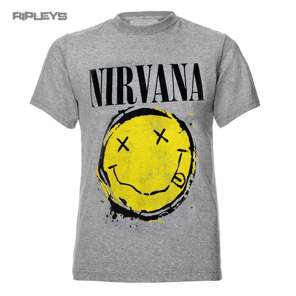 c580bc14 Official T Shirt NIRVANA Grey Yellow Smiley Splat Logo All Sizes