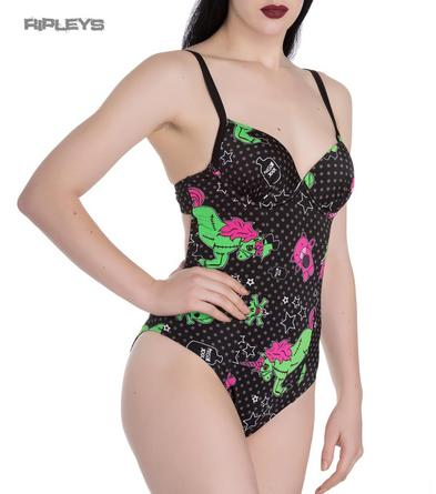 Hell Bunny  Goth/Punk Black I Heart ZOMBIE Swimsuit Beach All Sizes