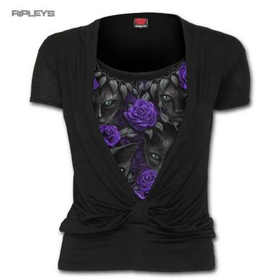 SPIRAL Ladies Black Goth Cat/Rose WATCHERS 2 in 1 Layered Knot Top All Sizes
