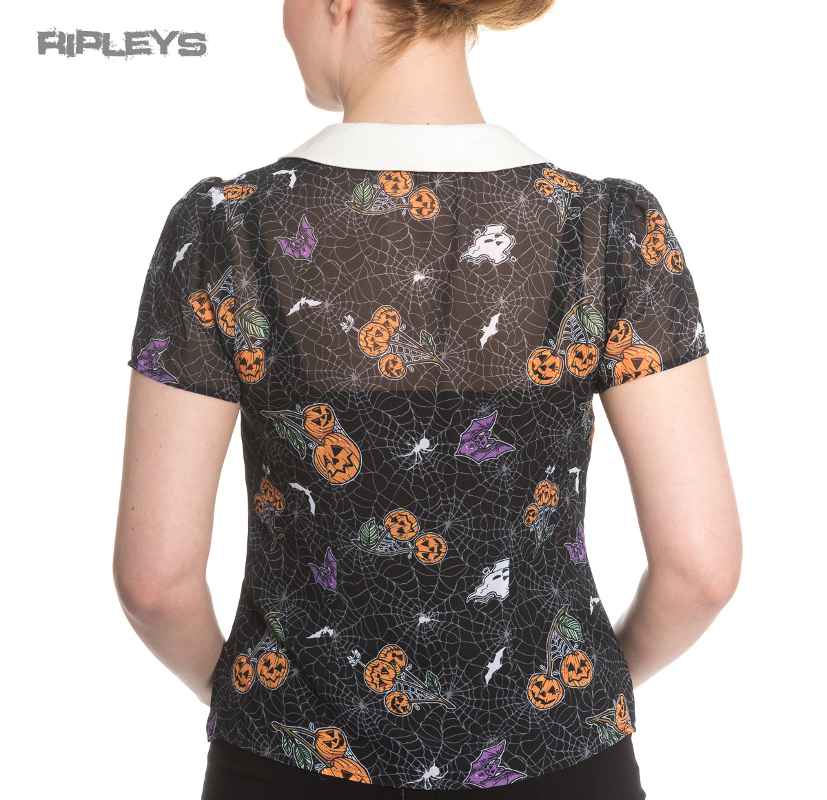 Hell-Bunny-Shirt-Top-Halloween-Webs-Pumpkins-HARLOW-Blouse-All-Sizes thumbnail 32
