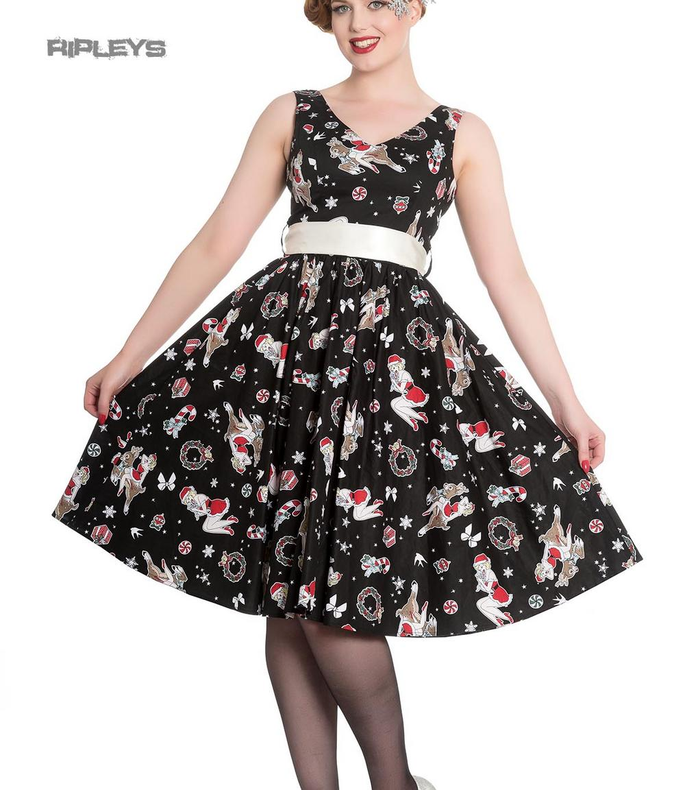 499c993946a3 Hell Bunny Christmas Noel 50s Pin Up Rockabilly Dress BLITZEN Black All  Sizes