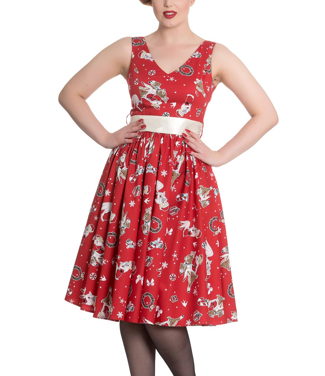 Hell-Bunny-Christmas-Noel-50s-Pin-Up-Rockabilly-Dress-BLITZEN-Red-All-Sizes thumbnail 3