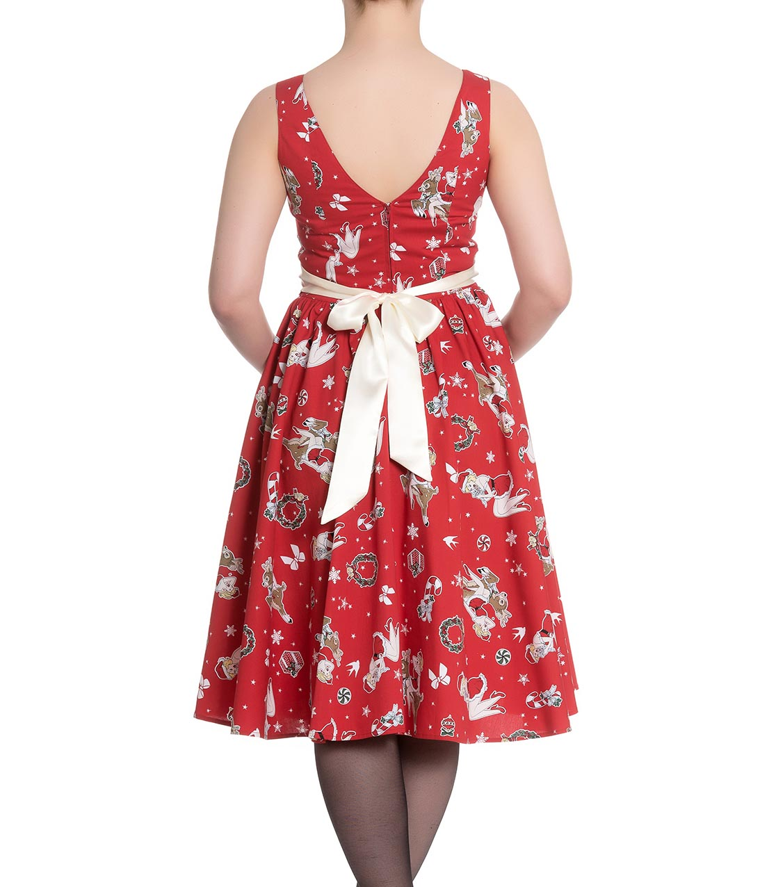 Hell-Bunny-Christmas-Noel-50s-Pin-Up-Rockabilly-Dress-BLITZEN-Red-All-Sizes thumbnail 5