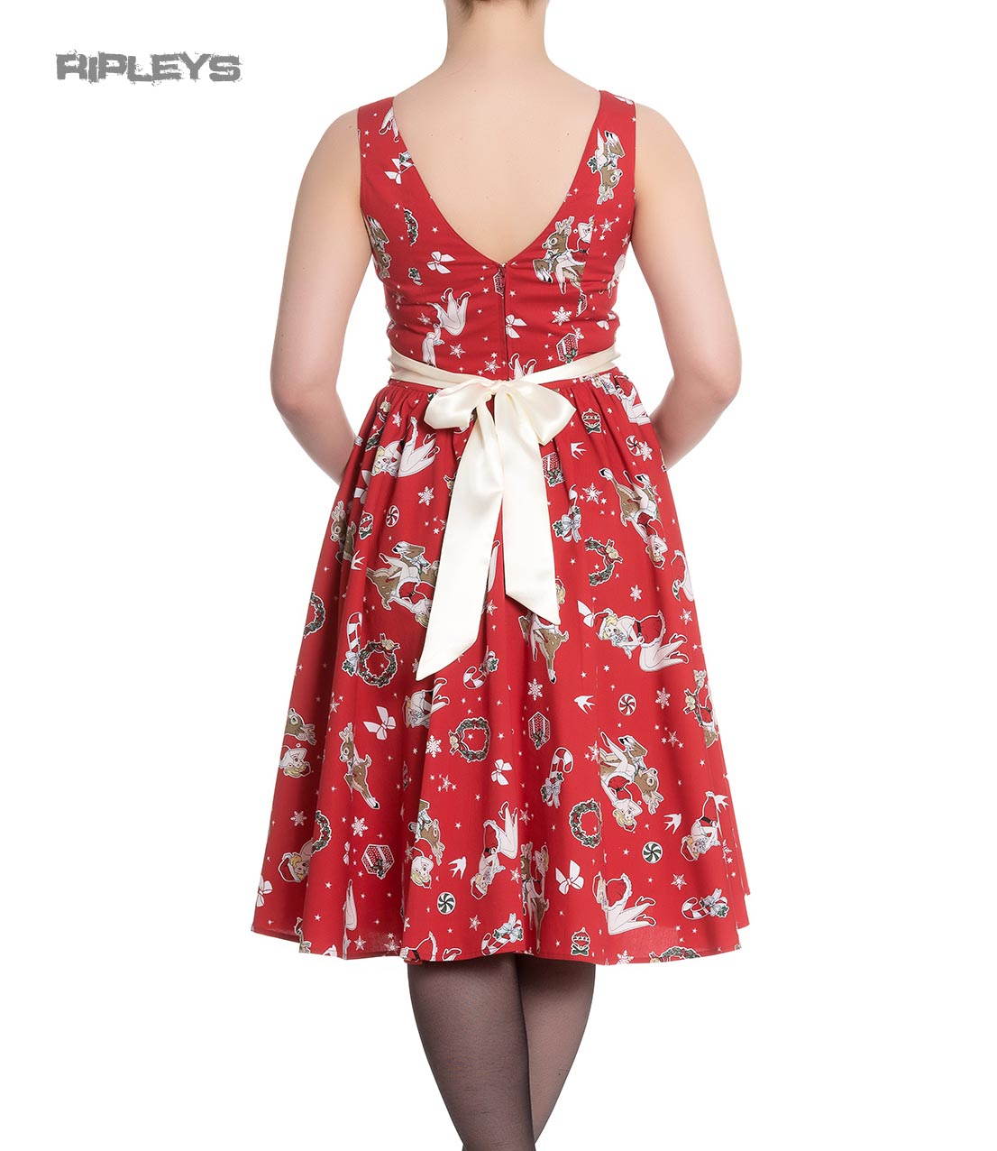 Hell-Bunny-Christmas-Noel-50s-Pin-Up-Rockabilly-Dress-BLITZEN-Red-All-Sizes thumbnail 4