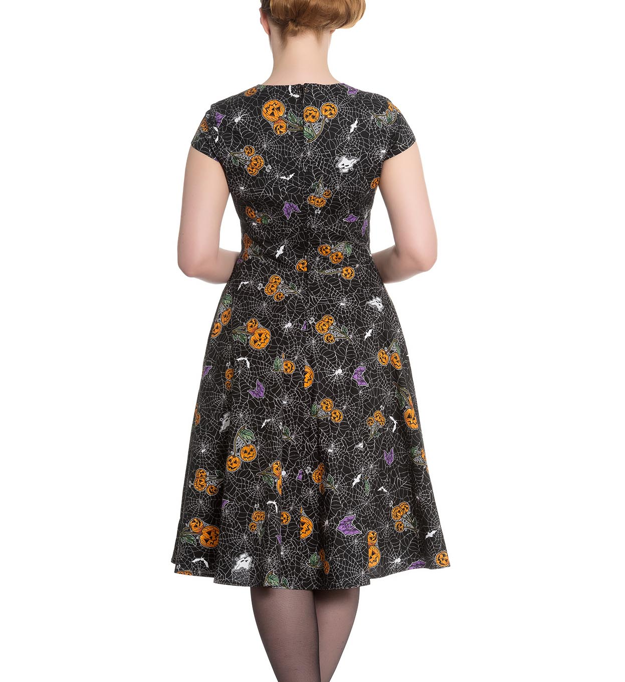 Hell-Bunny-Black-Pinup-50s-Goth-Webs-Dress-HARLOW-Halloween-All-Sizes thumbnail 17
